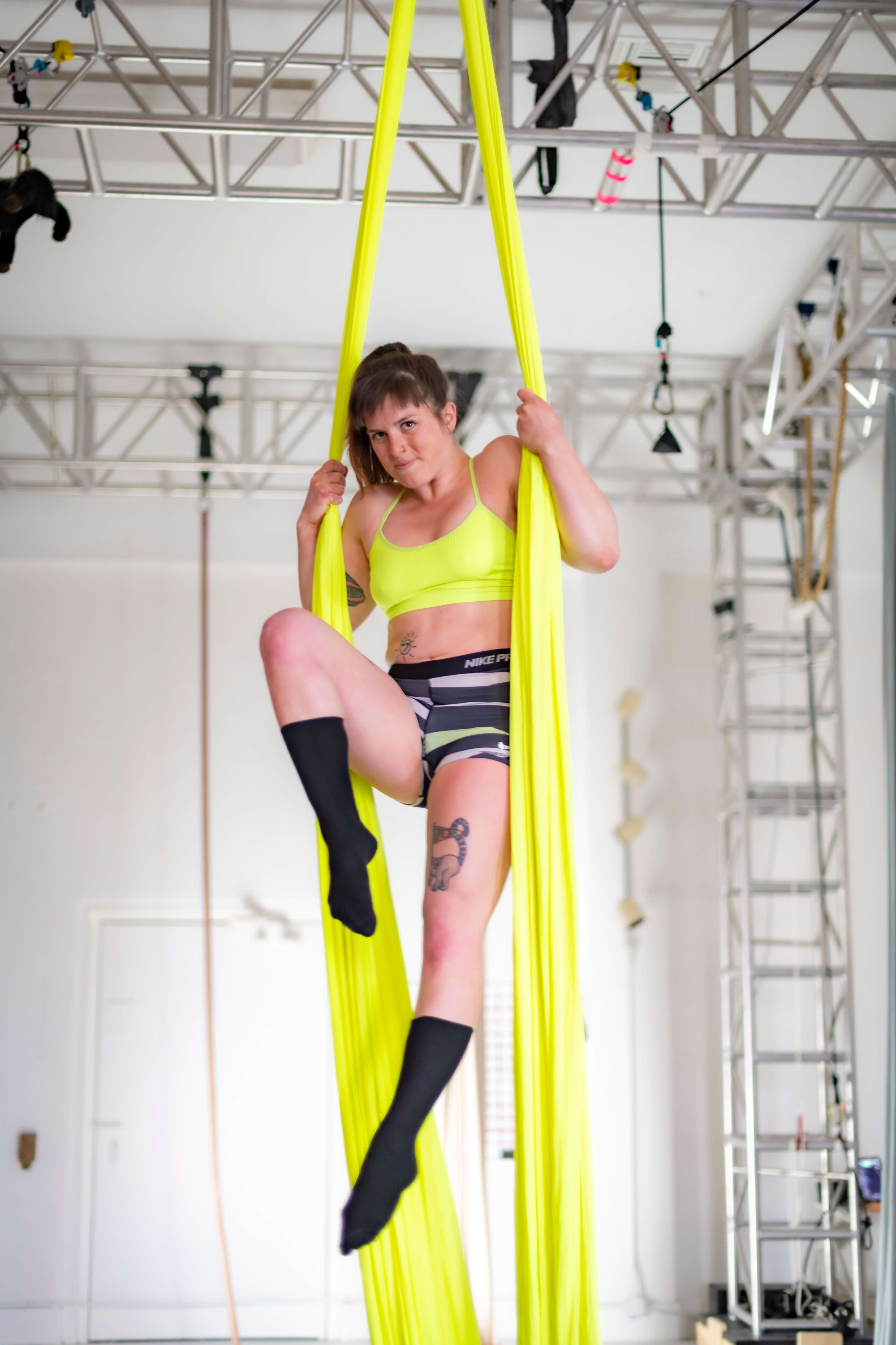 Photoshoot at Afterglow Aerial Arts in Portland Oregon.  Models Jolene and Martha.  Assisted by Dan.